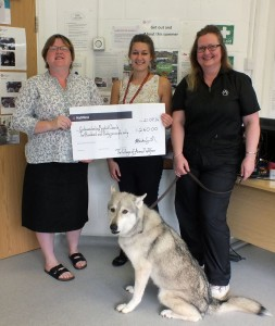 Godmanchester Food Bank being presented with cheque