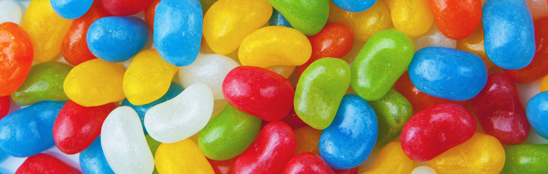 Brightly coloured sweets as an example of processed foods