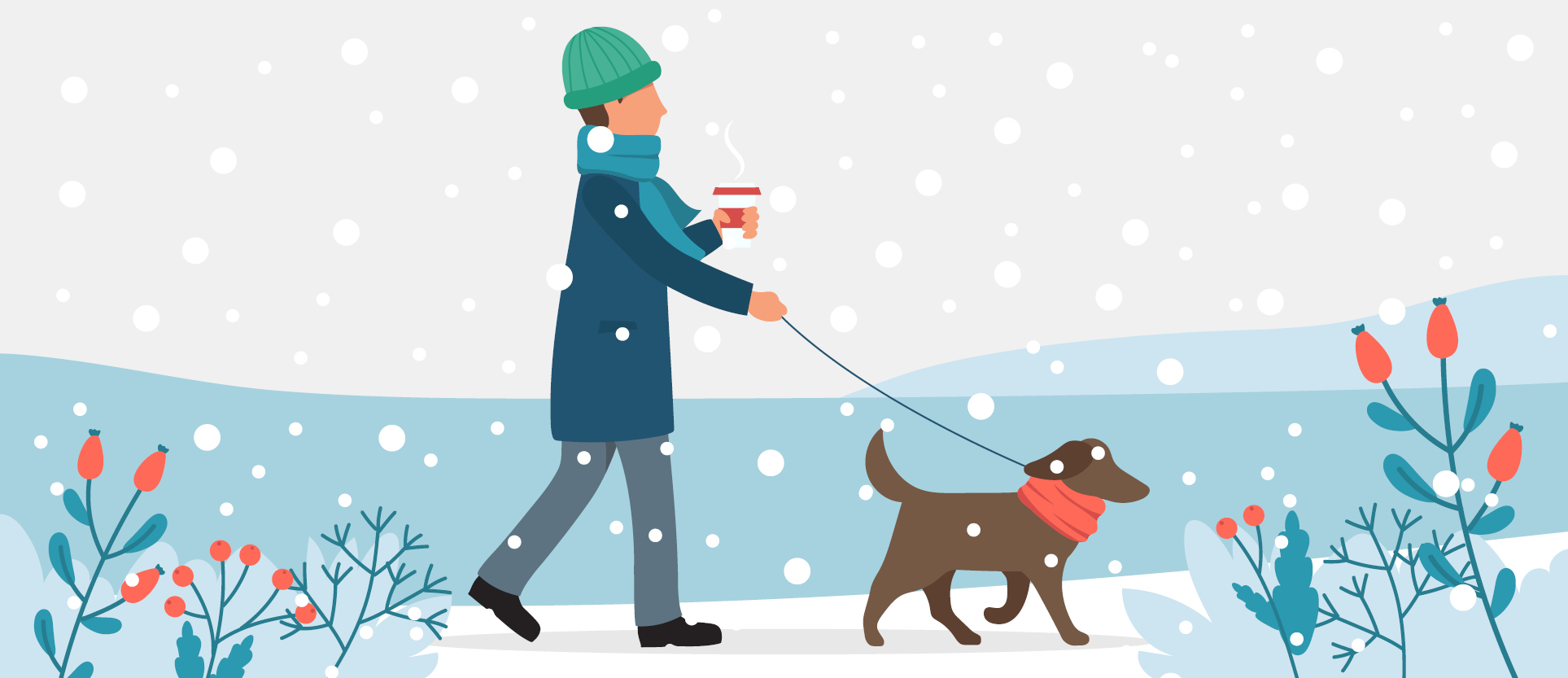 Person walking a dog in the snow